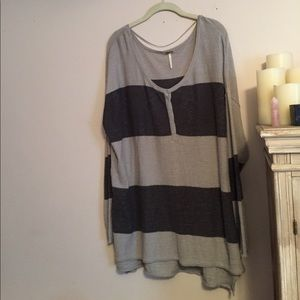 Free People gray and black linen striped tunic top